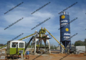Stationary concrete batch plant with twin shaft mixer